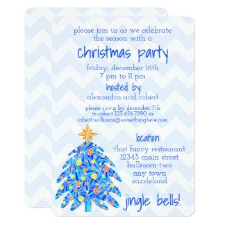 Árbol de navidad azul Chevron moderno y nostalgia Invitación 12,7 X 17,8 Cm