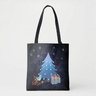 Árbol de navidad azul de Ombre con los regalos Bolsa De Tela