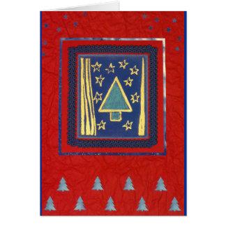 Árbol de navidad azul moderno en Rojo Tarjeta De Felicitación