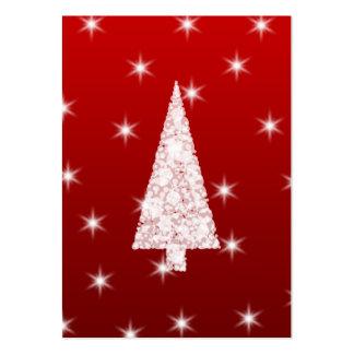 Árbol de navidad blanco con las estrellas en rojo tarjeta de visita