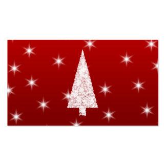 Árbol de navidad blanco con las estrellas en rojo tarjetas de visita