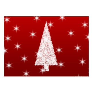 Árbol de navidad blanco con las estrellas en rojo tarjetas de visita grandes
