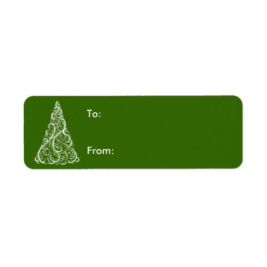 Árbol de navidad blanco en etiqueta verde del etiqueta de remitente
