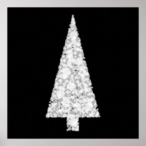 Rbol de navidad blanco en negro elegante p ster zazzle - Arbol navidad elegante ...