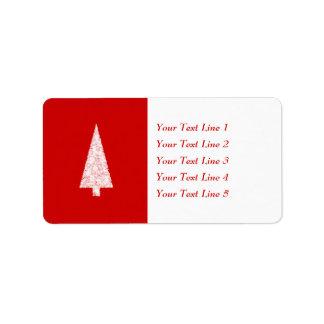 Árbol de navidad blanco. En rojo. Moderno Etiquetas De Dirección