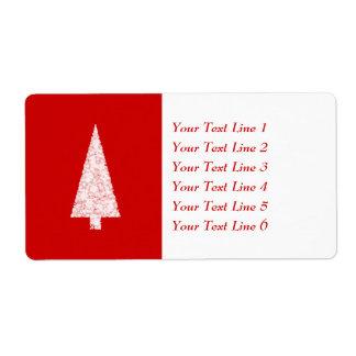 Árbol de navidad blanco. En rojo. Moderno Etiquetas De Envío