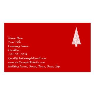 Árbol de navidad blanco. En rojo. Moderno Tarjetas De Visita