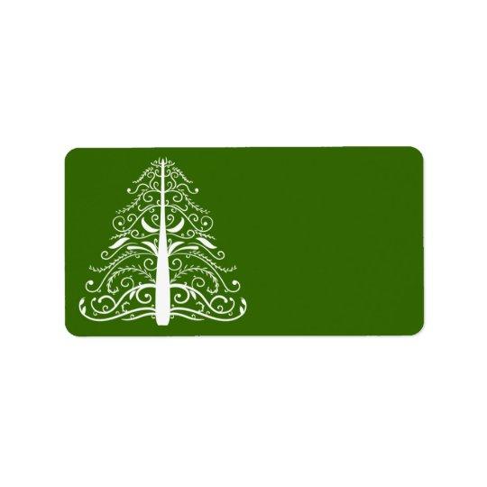 Árbol de navidad blanco en verde etiqueta de dirección