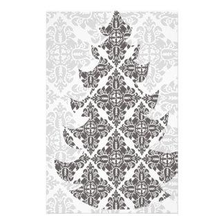 Árbol de navidad blanco y negro de lujo del damasc folleto 14 x 21,6 cm