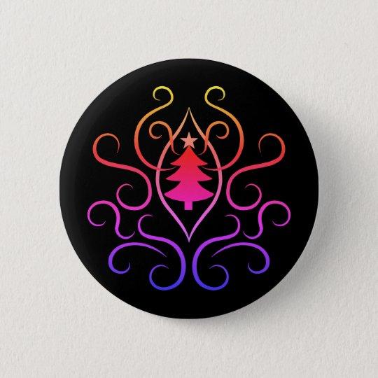 Árbol de navidad colorido chapa redonda de 5 cm