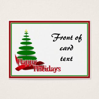Árbol de navidad con la cinta roja tarjeta de negocios