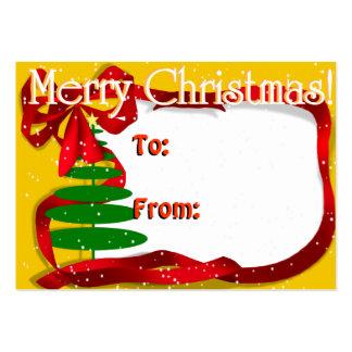 Árbol de navidad con la cinta roja tarjetas de visita