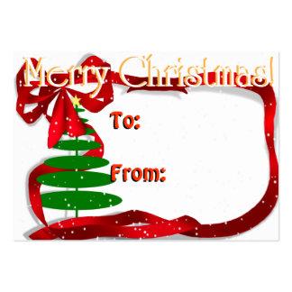Árbol de navidad con la cinta roja plantillas de tarjeta de negocio