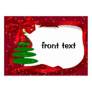 Árbol de navidad con la cinta roja plantillas de tarjetas de visita