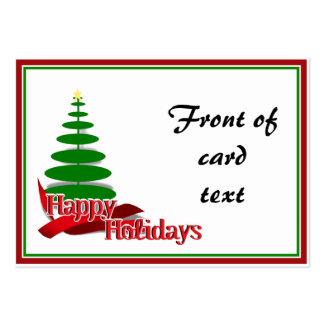 Árbol de navidad con la cinta roja tarjetas de visita grandes