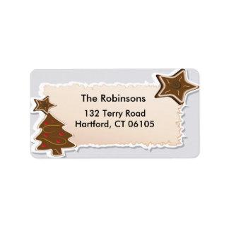 Árbol de navidad con la etiqueta de dirección de