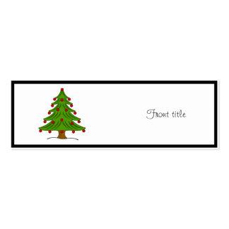 Árbol de navidad con los ornamentos rojos tarjetas de visita mini