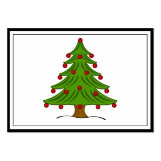 Árbol de navidad con los ornamentos rojos tarjetas de visita grandes