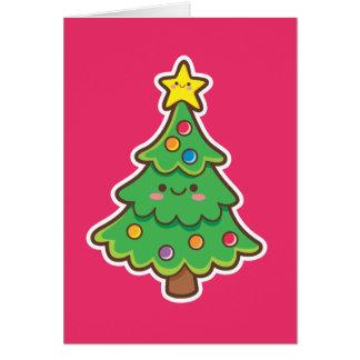 Árbol de navidad de Kawaii Tarjeta De Felicitación