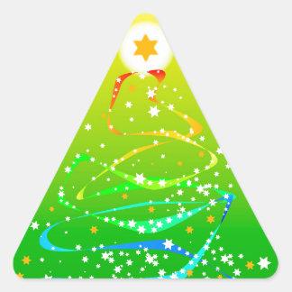 Árbol de navidad de la cinta y de la estrella pegatina triangular