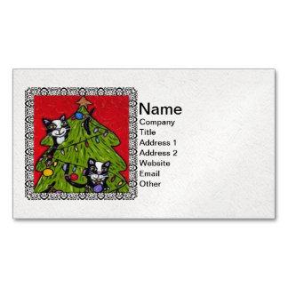 Árbol de navidad de los gatos del arte popular tarjetas de visita magnéticas (paquete de 25)