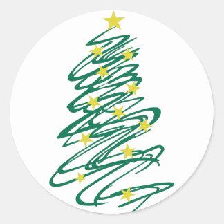 Árbol de navidad de Swirly Pegatina Redonda