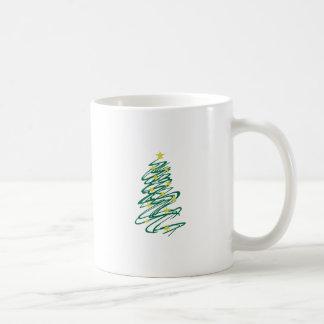 Árbol de navidad de Swirly Taza Básica Blanca