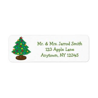 Árbol de navidad de tres gradas etiqueta de remitente