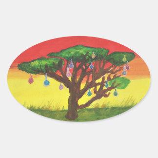 Árbol de navidad del acacia pegatina ovalada