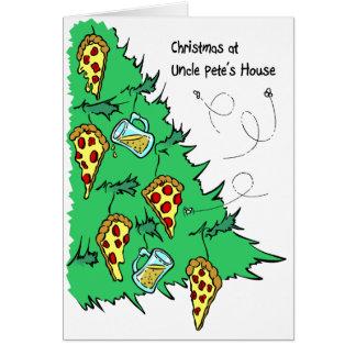 Árbol de navidad del árbol de la pizza y de la cer tarjeta de felicitación