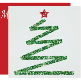 Árbol de navidad del brillo invitación 13,3 cm x 13,3cm