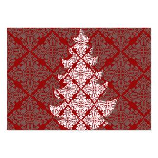 Árbol de navidad del damasco plantillas de tarjeta de negocio
