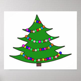 Árbol de navidad del dibujo animado póster