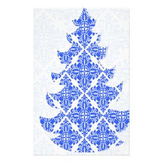 Árbol de navidad del modelo del damasco del azul Y Tarjeton