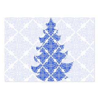 Árbol de navidad del modelo del damasco del azul Y Tarjeta De Visita