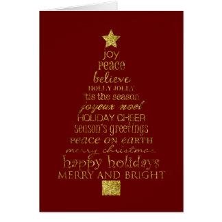 Árbol de navidad del oro tarjeta de felicitación