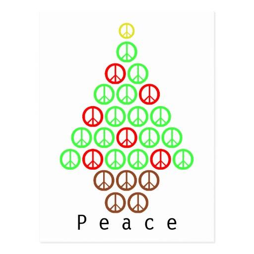 Árbol de navidad del signo de la paz postal