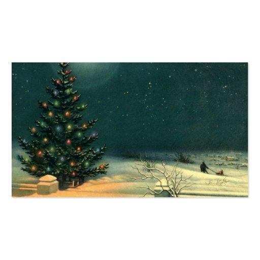 Árbol de navidad del vintage en la noche, Snowscap Tarjeta Personal