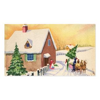 Árbol de navidad del vintage en un camino del invi plantillas de tarjeta de negocio