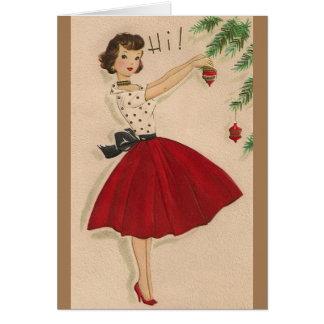 Árbol de navidad del vintage que adorna la tarjeta