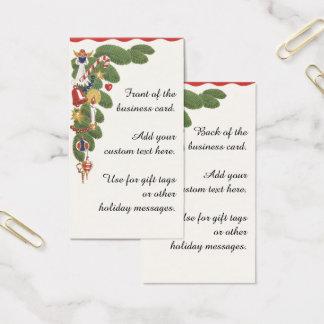 Árbol de navidad del vintage y frontera decorativa tarjeta de visita