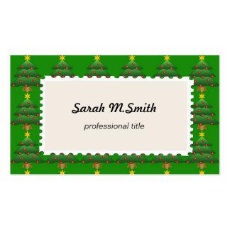 Árbol de navidad, día de fiesta, verde tarjetas de visita