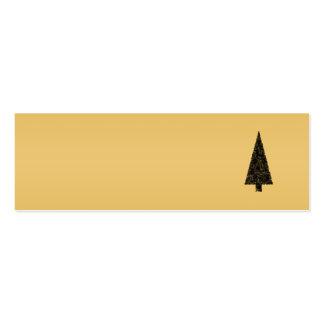 Árbol de navidad elegante. Negro y oro Tarjetas De Visita Mini