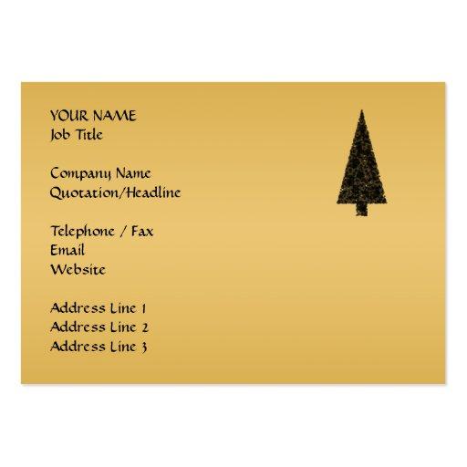 Árbol de navidad elegante. Negro y oro Tarjeta De Visita