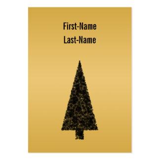 Árbol de navidad elegante. Negro y oro Tarjetas De Visita Grandes