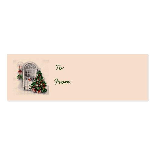 Árbol de navidad en etiquetas del regalo de la ven tarjeta de visita