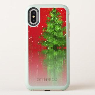 Árbol de navidad en una caja roja del iPhone X del