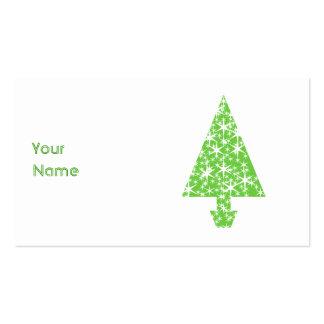 Árbol de navidad en verde y blanco tarjetas de visita