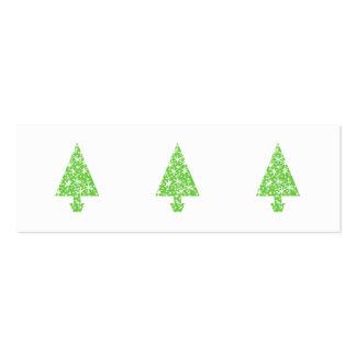 Árbol de navidad en verde y blanco tarjetas de visita mini