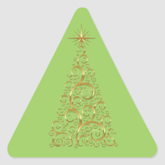 Árbol de navidad festivo del oro del Flourish Pegatina Triangular